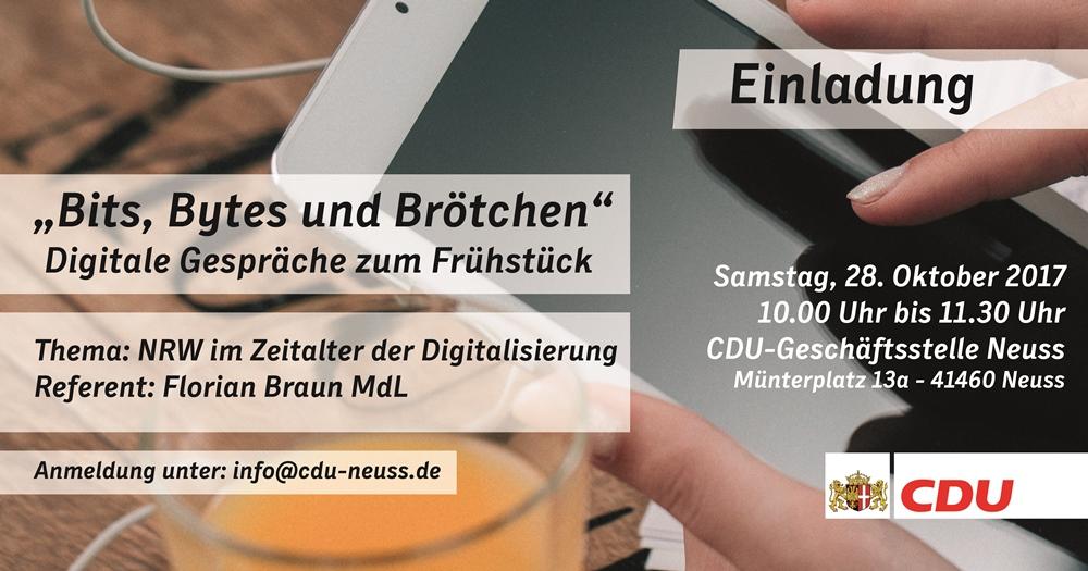 Bits, Bytes und Brötchen – CDU startet Veranstaltungsreihe zur Digitalisierung